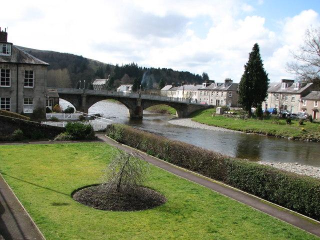 River and road bridge in Langholm