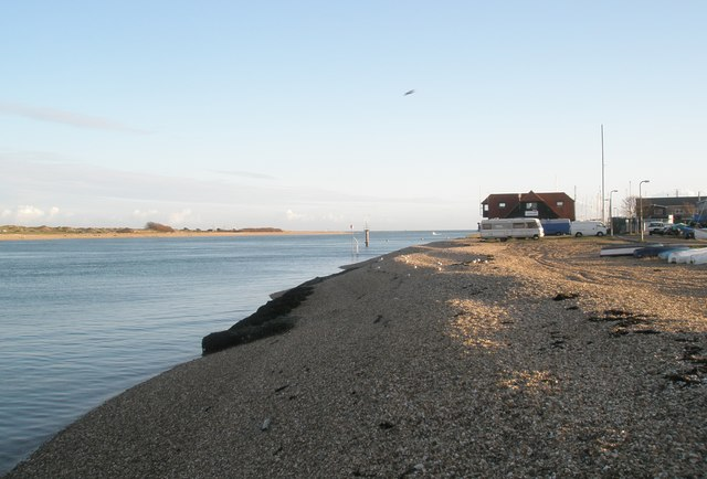 Looking back towards the RNLI building at Eastney from the jetty for the Hayling Ferry
