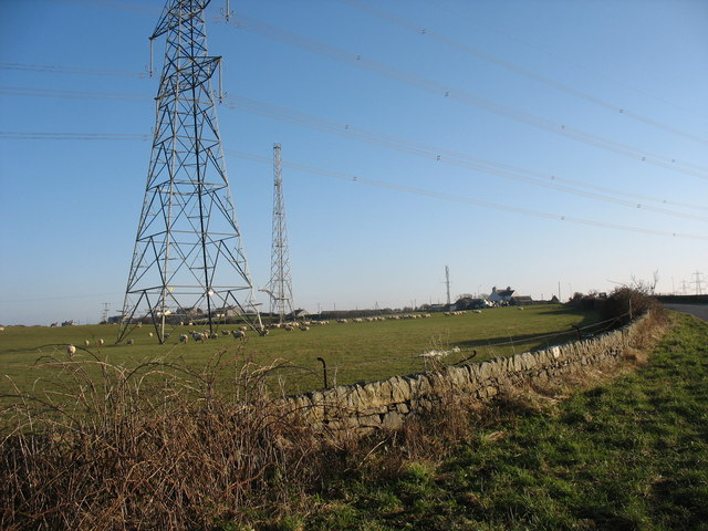 Powerlines and radio mast south of Wylfa NP Station