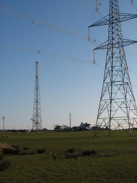 Powerlines and radio and telecommunications masts near Wylfa NP Station