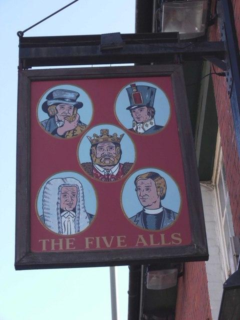 Pub sign of The Five Alls