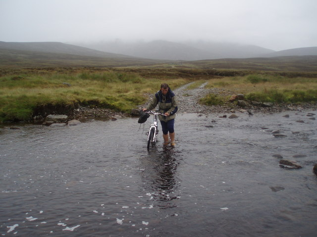 Fording the Geldie Burn near Geldie Lodge