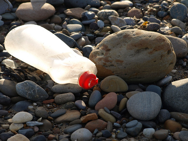 Washed up rubbish on Withernsea Beach