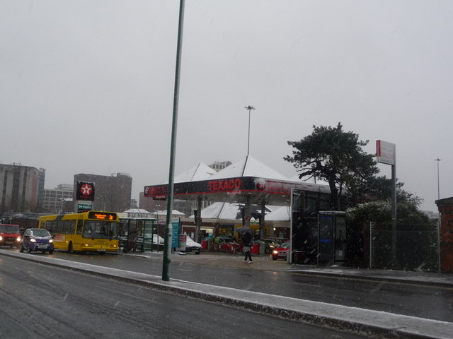 Bournemouth: petrol station alongside railway station