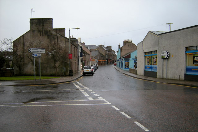 View of Castle Street, Forfar at its junction with Victoria Street