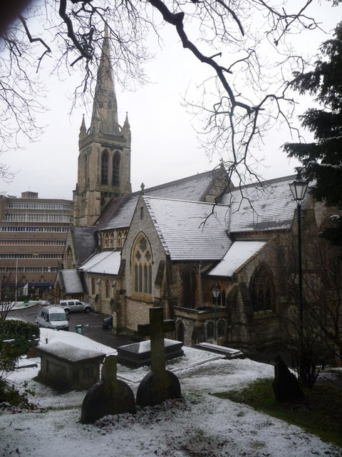 Bournemouth: St. Peter's in snow