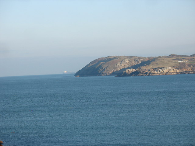 A container vessel off Llanlleiana Head