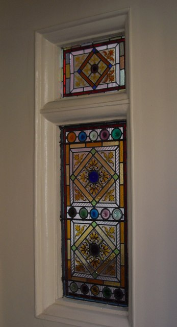 Stained Glass in porch of Carlisle Mansions