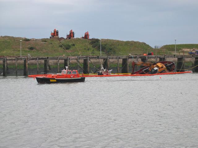 Sunken dredger, Heysham harbour