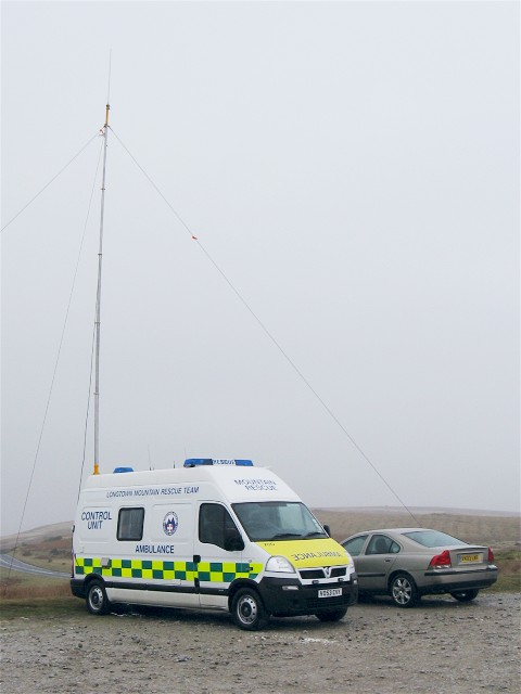 Mountain Rescue control unit parked above Llangynidr