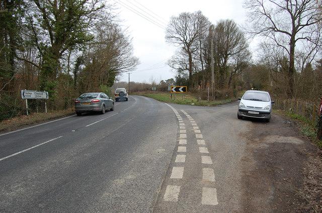 Junction of B2244 with Hurst Lane