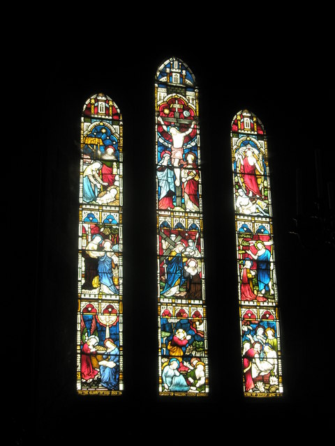 Stained glass windows above the altar at All Saints', Steep