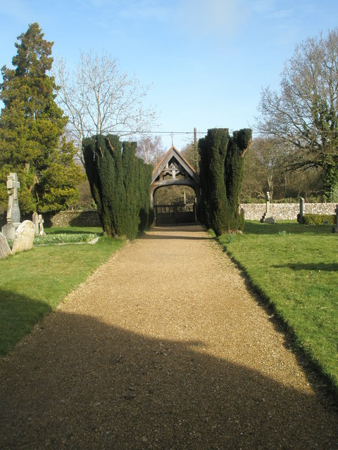 Path from the north porch to the lych gate at All Saints', Steep