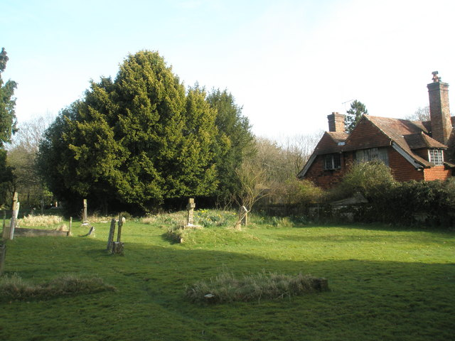 A quiet corner of the churchyard at All Saints', Steep