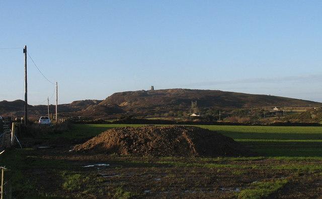 View west across farmland towards Parys Mountain
