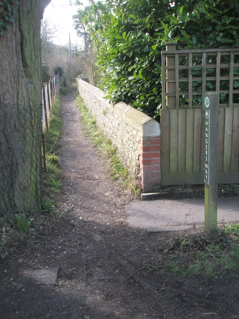 Long distance footpath heading south from All Saints', Steep