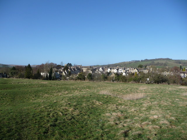 Winchcombe viewed from the east side of the River Isbourne.