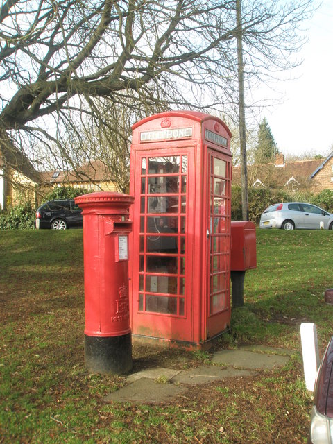 Postbox and phonebox on The Green at Sheet