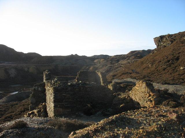 Old mine building on the eastern side of Mynydd Parys
