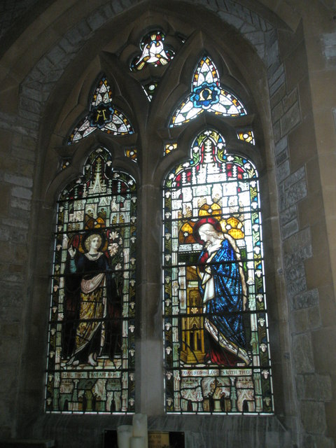 Stained glass window on the south wall at St Mary Magdalen, Sheet