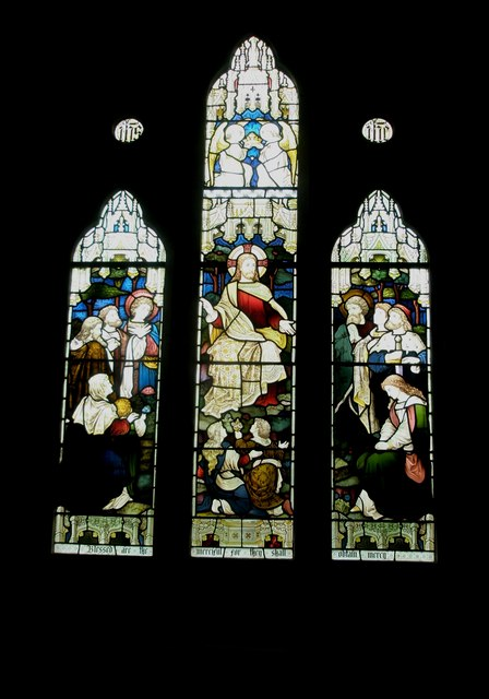 Stained glass window on the south wall at St John the Evangelist, Langrish