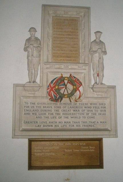 Great War Memorial within St John the Evangelist, Langrish