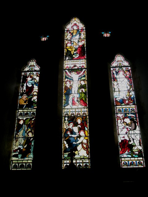 Stained glass windows above the altar at St John the Evangelist, Langrish