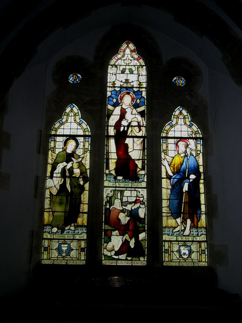 Stained glass window on the north wall at St John the Evangelist, Langrish