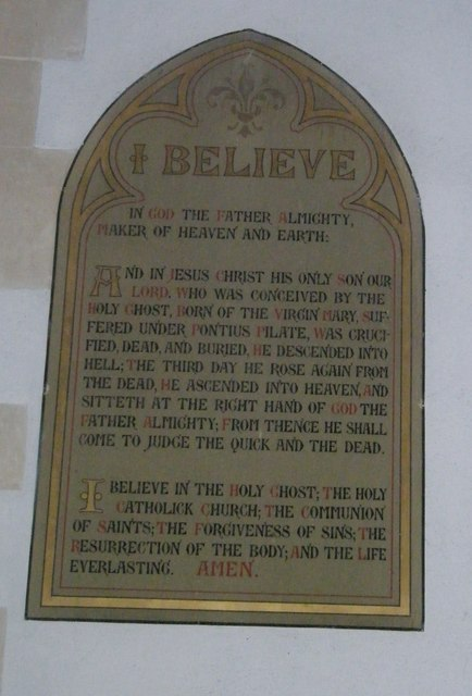 Creed to the right of the altar at St John the Evangelist, Langrish