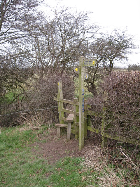 Stile and Signpost for Sandstone Trail