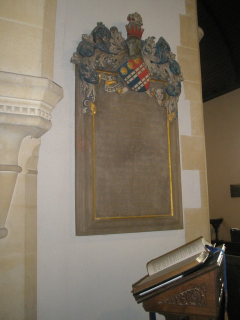 Impressive coat of arms adorning a memorial within St John the Evangelist, Langrish