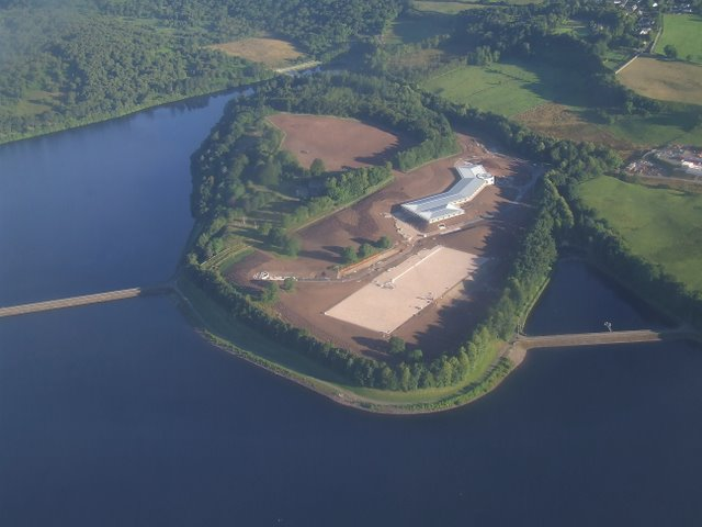 Milngavie reservoirs and waterworks from the air
