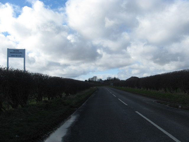 Road heading towards Wark