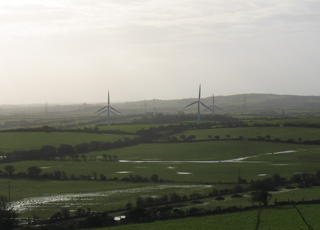 Flooded valley floor and wind turbines
