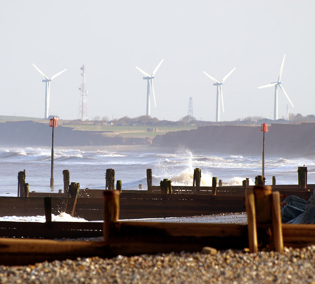 Out Newton Wind Turbines from Withernsea Beach