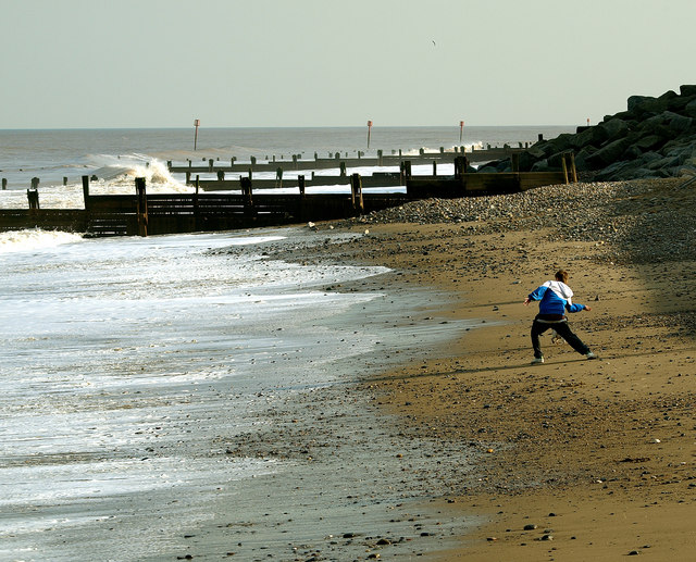 Stone Thrower on Withernsea Beach