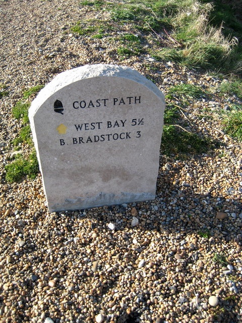 Coastal path milestone - West Bexington
