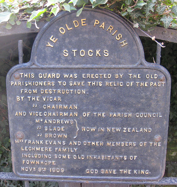 Plaque on Ye Olde Parish Stocks