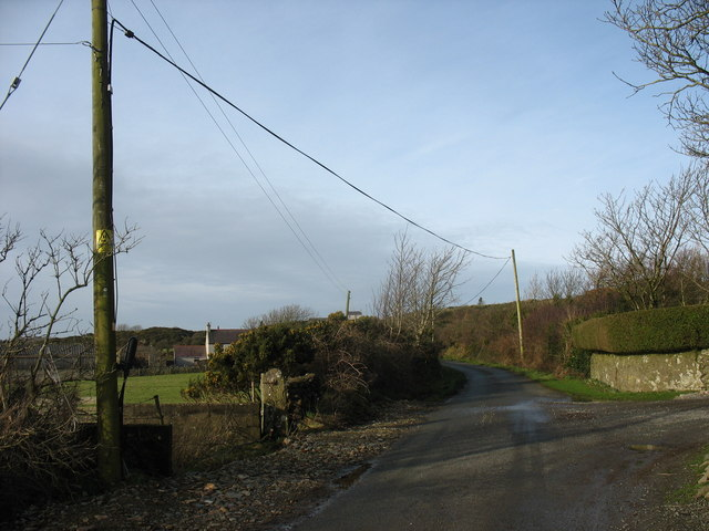 View northwards from the entrance to Trysglwyn Fawr Farm