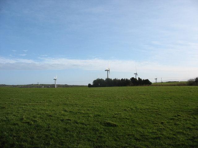Grazing land and wind turbines at Trysglwyn Fawr