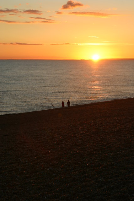 Anglers at Chesil Beach