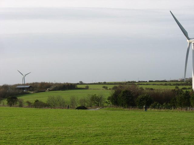 View across farmland in the direction of Taldrwst Mawr Farm