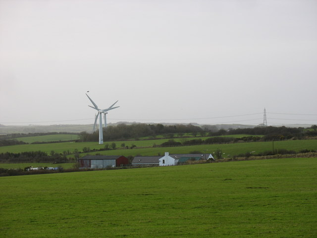 View across farmland in the direction of Taldrwst Bach Farm
