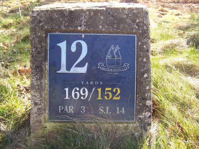 12th Tee Marker in Wrotham Heath Golf Course