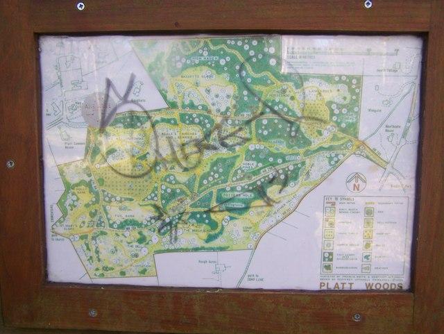 Vandalised sign in Platt Woods