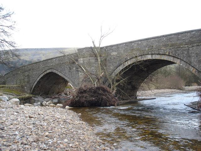 Tree stranded on Grinton Bridge