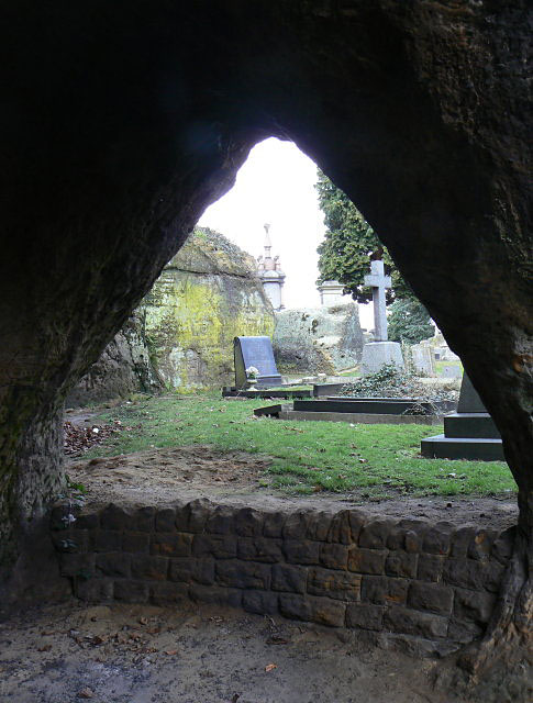 View from a cave in Church (Rock) Cemetery