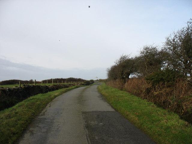 The road northwards towards Trysglwyn Wind Farm