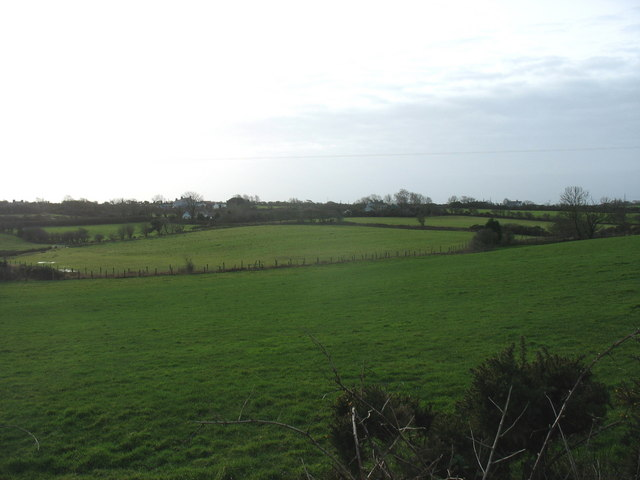 View across farmland in the direction of the hamlet of Pengraigwen