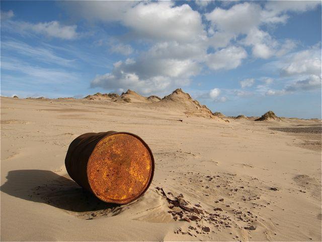 Forvie: old oil drum on the Sands of Forvie